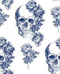 Vintage blue skull with flowers seamless pattern