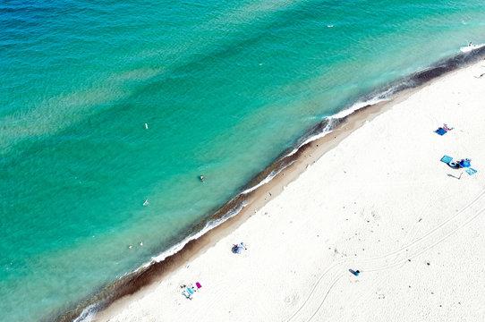 Lake Michigan Beach Drone Aerial