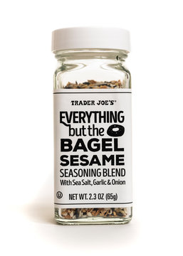 Millburn, New Jersey, USA - April 29, 2020: A bottle of Trader Joe's Everything but the Bagel Sesame Seasoning Blend with sea salt, garlic and onion. Photographed on a white background.