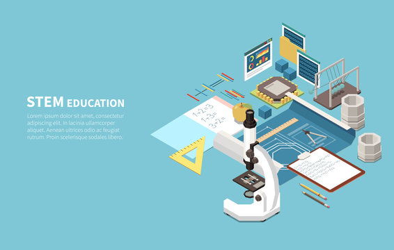 STEM Education Isometric Composition