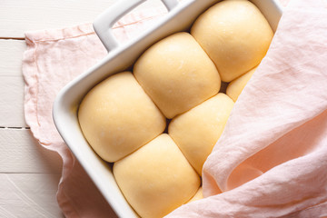 Sourdough bread buns ready to be put in the oven