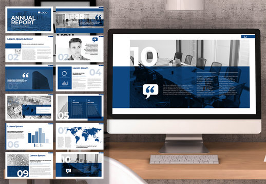 Blue and White Digital Annual Report Layout