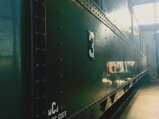 Number 3 On Old Vintage Train At Warehouse
