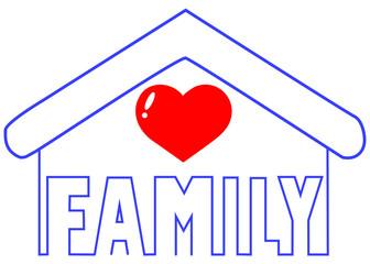 día de la familia, palabra familia dentro de la figura de una casa