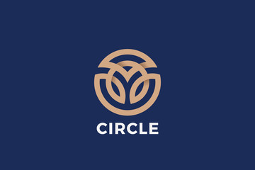 Wall Mural - Circle shape Logo design abstract Linear Outline Luxury style