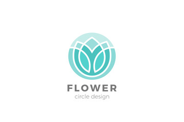 Flower Garden Floral Logo Circle shape design Linear Outline Luxury style
