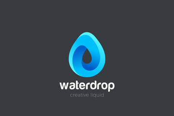 Wall Mural - Water Droplet Drop Logo design vector template. Natural Mineral Aqua Drink Oil Liquid Energy Logotype concept icon.