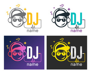 Dj Logo Design. Creative vector logo design with headphones and DJ with glasses. Music logotype template. For accessory, brand, identity, logotype, company, shop, dj party. Black background. Mp3 sign.