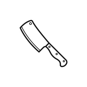 Meat cleaver knife icon flat vector illustration