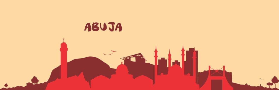 Abuja City  Skyline Icon Vector  Red