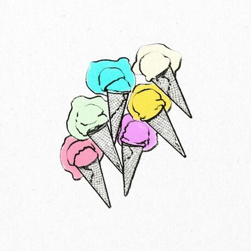 Summer food frozen treats, ice cream that is hand illustrated.