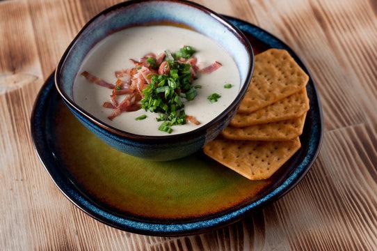 creamy  potato soup with crispy bacon