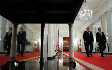 U.S. President Trump arrives with Tennessee Governor Lee at coronavirus response event at the White House in Washington