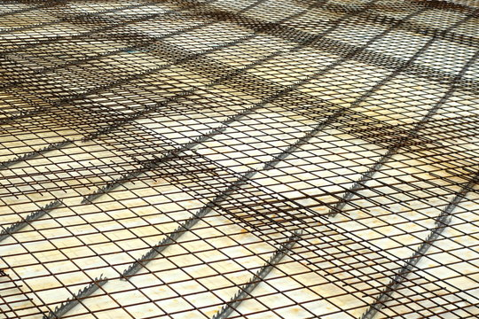 Full Frame Shot Of Metal Grate At Construction Site