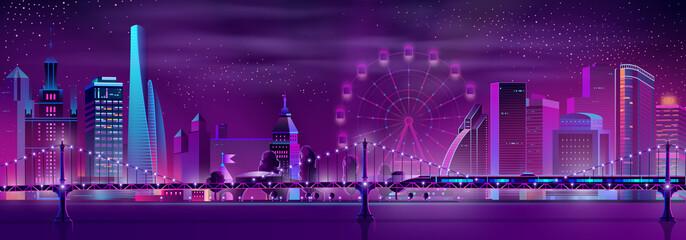 Modern city neon cartoon vector night landscape