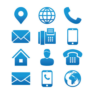 Contact Info Icon Set with Address Pin, Phone, Fax, Cell Phone, Worker and Email Icons.
