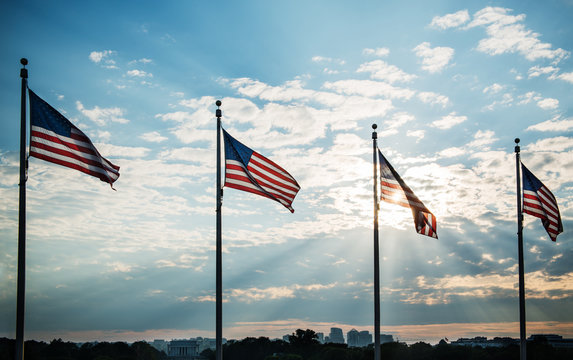american flag in the wind on the mall in Washington DC, United States