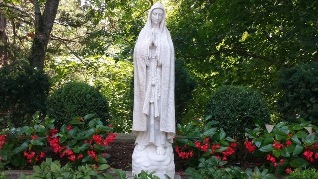 Virgin Mary Against Trees At Park