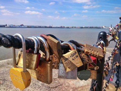 Love Locks On Chain At Albert Dock