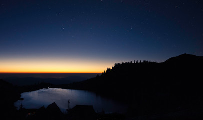 Scenic View Of Landscape Against Sky At Night