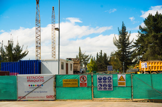 QUITO, ECUADOR - MAY 06 2016: Construction of the trains station, I aquito stop in the mainstreet in NNUU near of Carolina Park, in the city of Quito