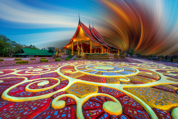 Poster de jardin Bordeaux Beautiful floor pattern as foreground at Sirindhorn Wararam temple (Wat Phu Prao) at Ubonratchathani province in Thailand . Edit picture with photo program. Art concept.
