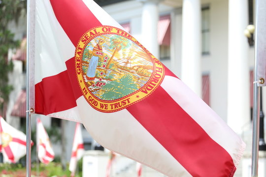 Close-up Of Florida State Flag Against Building