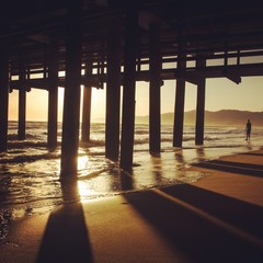 Below View Of Santa Monica Pier During Sunset