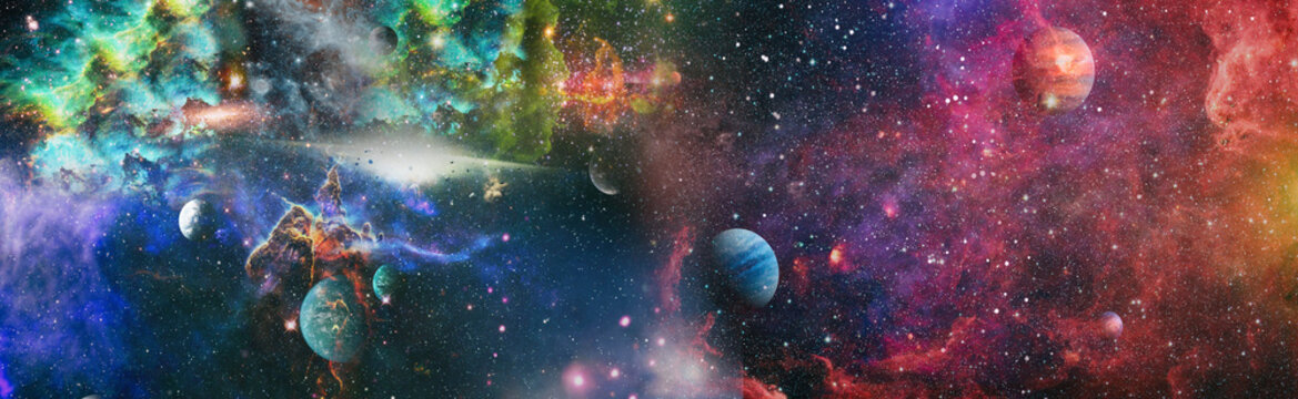 Stars of a planet and galaxy in a free space . Bright Star Nebula. Distant galaxy. Abstract image. Elements of this image furnished by NASA.
