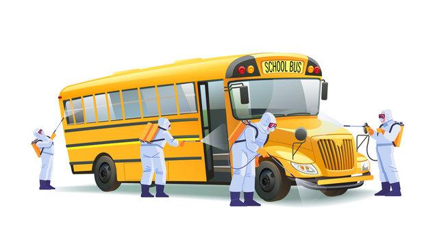 Coronavirus disinfection. Quarantine in school, empty yellow school bus without children. Hazmat team in protective suits decontamination school bus during virus outbreak. Cartoon vector illustration