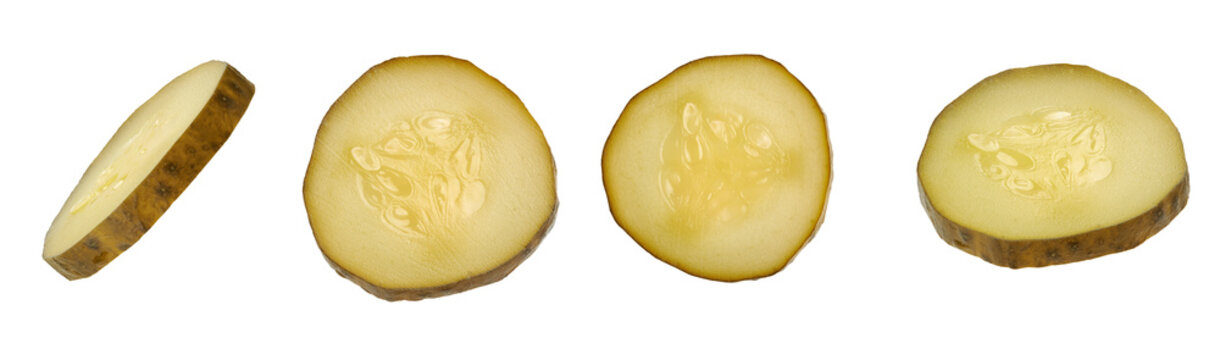 slices of pickled cucumber isolated with clipping path