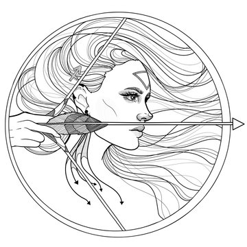 black and white girl sagittarius horoscope zodiac bow and arrow