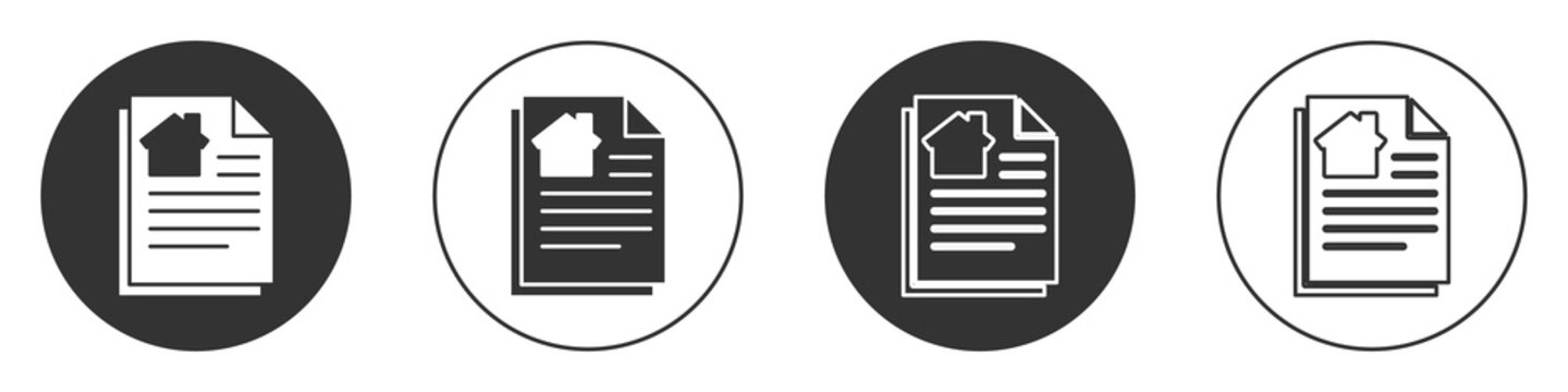 Black House contract icon isolated on white background. Contract creation service, document formation, application form composition. Circle button. Vector Illustration
