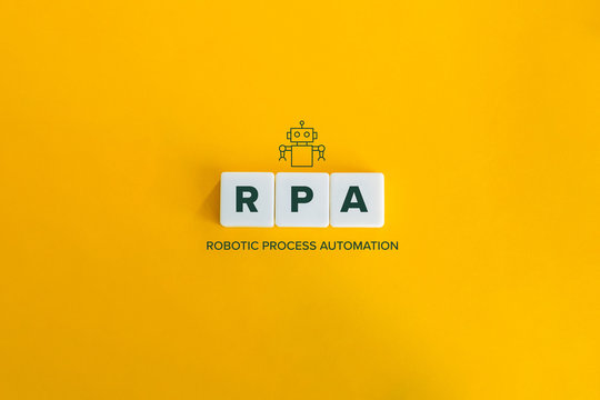 Robotic Process Automation (RPA) banner and data automation concept. Block letters and robot icon on bright orange background. Minimal aesthetics.