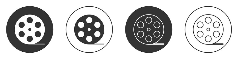 Black Film reel icon isolated on white background. Circle button. Vector Illustration