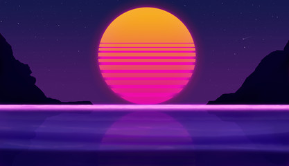 Foto auf Gartenposter Violett fantastic sunset on the beach on a background of the starry sky