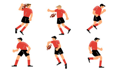 Young men in red uniform playing rugby on field vector illustration