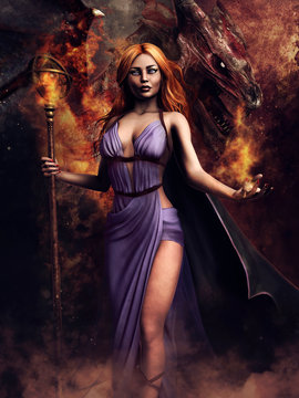 Fantasy sorceress holding a staff of fire with a red dragon standing behind her. 3D render. The woman in the image is a 3D object.