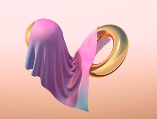 Pink and blue cloth falling with abstract gold figures with light background, 3d render