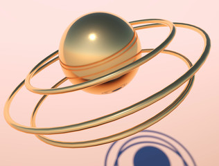 Golden sphere composition with abstract golden circles with a light background, 3d render