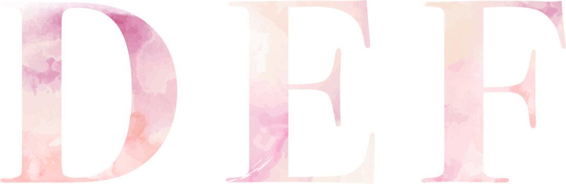 A watercolor serif font, pink salmon color, vector. Letters D E F