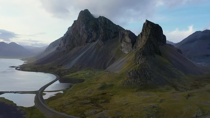 Wall Mural - Flying from the Eystrahorn Mountains and above the Ring Road in Iceland