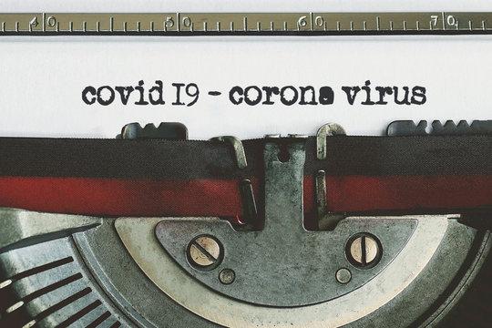 Corona Virus typed words on a vintage typewriter. corona virus-covid 19
