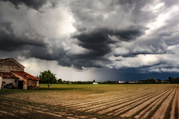 Storm over fields