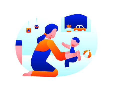 A Baby Sitter Is Playing And Caring For A Toddler