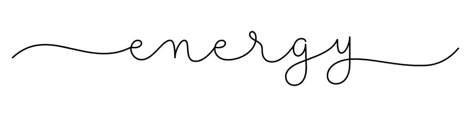 Zelfklevend Fotobehang Positive Typography ENERGY black vector monoline calligraphy banner with swashes