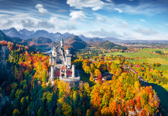 Poster Autumn View from flying drone. Gorgeous autumn scene of Neuschwanstein Castle, 19th-century hilltop fairytale castle. Impressive morning scene of Bavaria. Colorful landscape of Alps, Germany, Europe.