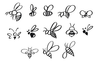 Selection of hand-drawn bees in different styles