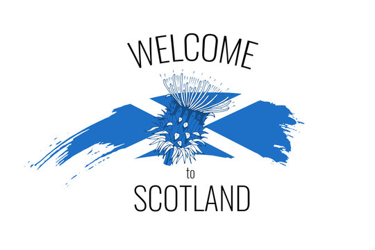 Abstract travel concept for logo, icon, poster, banner, design flag or t-shirt print. Welcome to Scotland font with national Scottish flag stroke and thistle on white background. Vector illustration