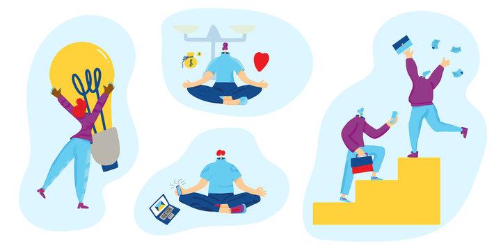 Work life balance concept. Vector human character.